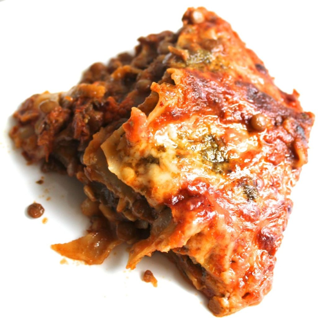 This vegetarian lentil lasagne is the easiest lasagne you will ever make. Throw it together on a weeknight with some ready-made soup, pesto and canned lentils! No pre-cooking at all. Just layer it up and bake.