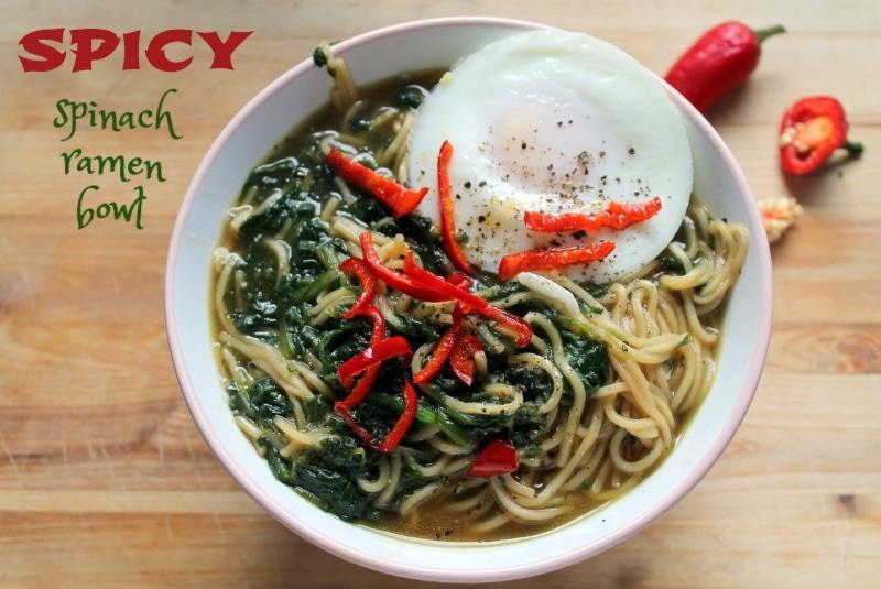 spinach ramen bowl