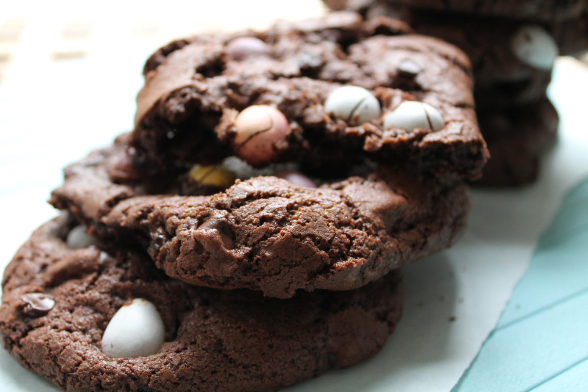 Dark chocolate cookies with Cadbury's mini eggs
