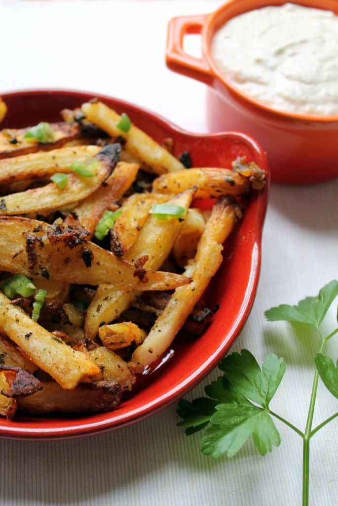 batata harra fries with eggplant dip