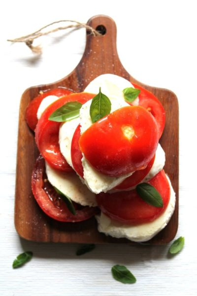 A fresg caprese salad drizzled with smoked olive oil. YUM.