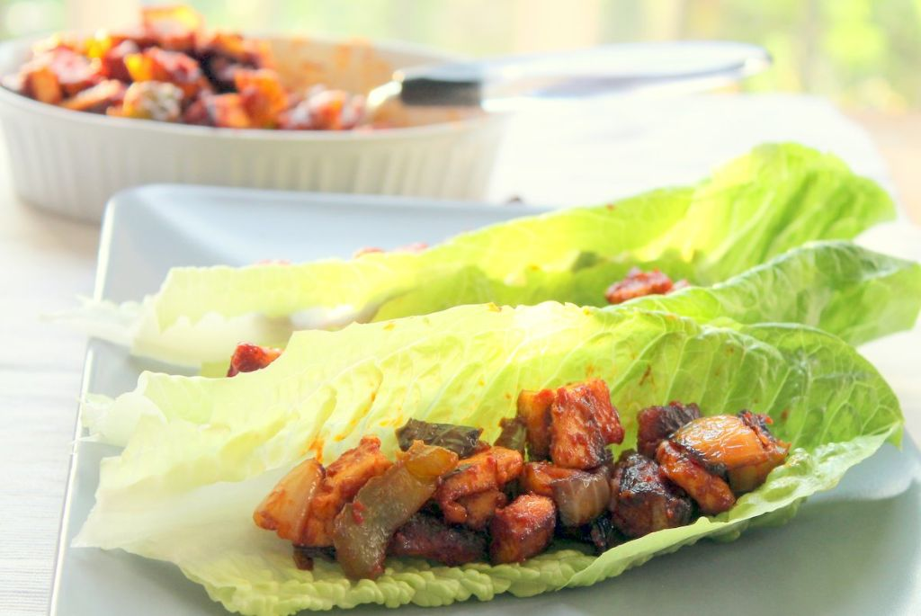Light, refreshing vegetarian lettuce wraps with an Indian inspired chilli paneer filling. These are absolutely delicious and take only 15 minutes to get on the table.