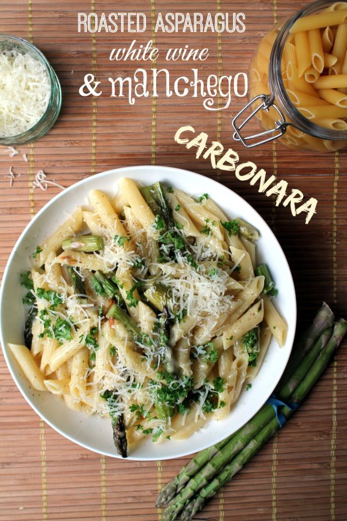 roasted asparagus, white wine and manchego carbonara