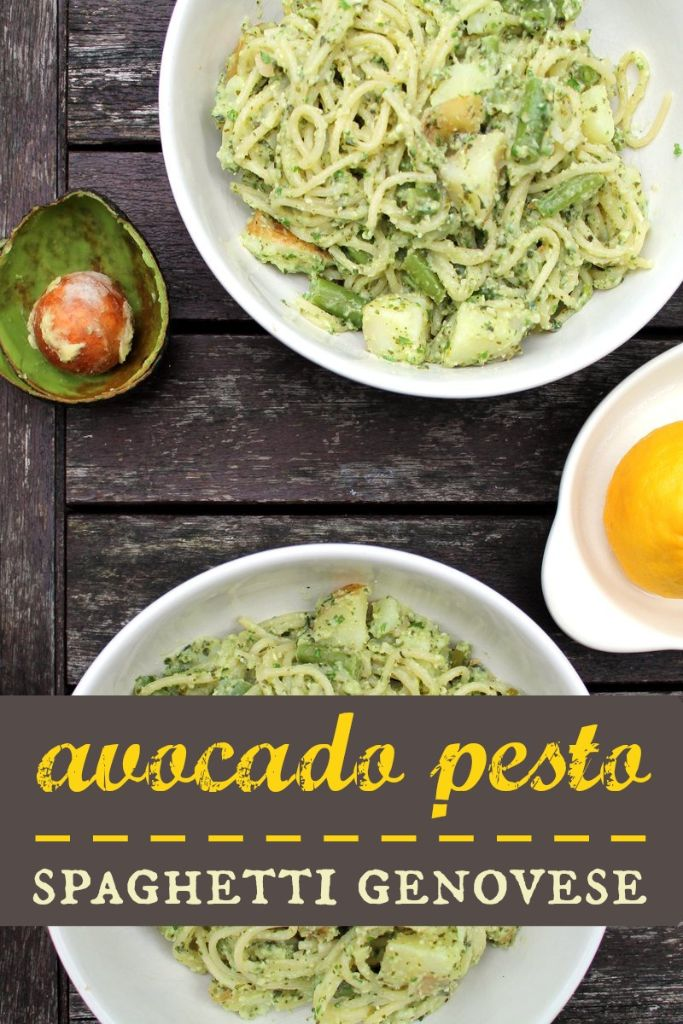 Avocado pesto spaghetti genovese. A delicious vegan twist on this Italian classic.