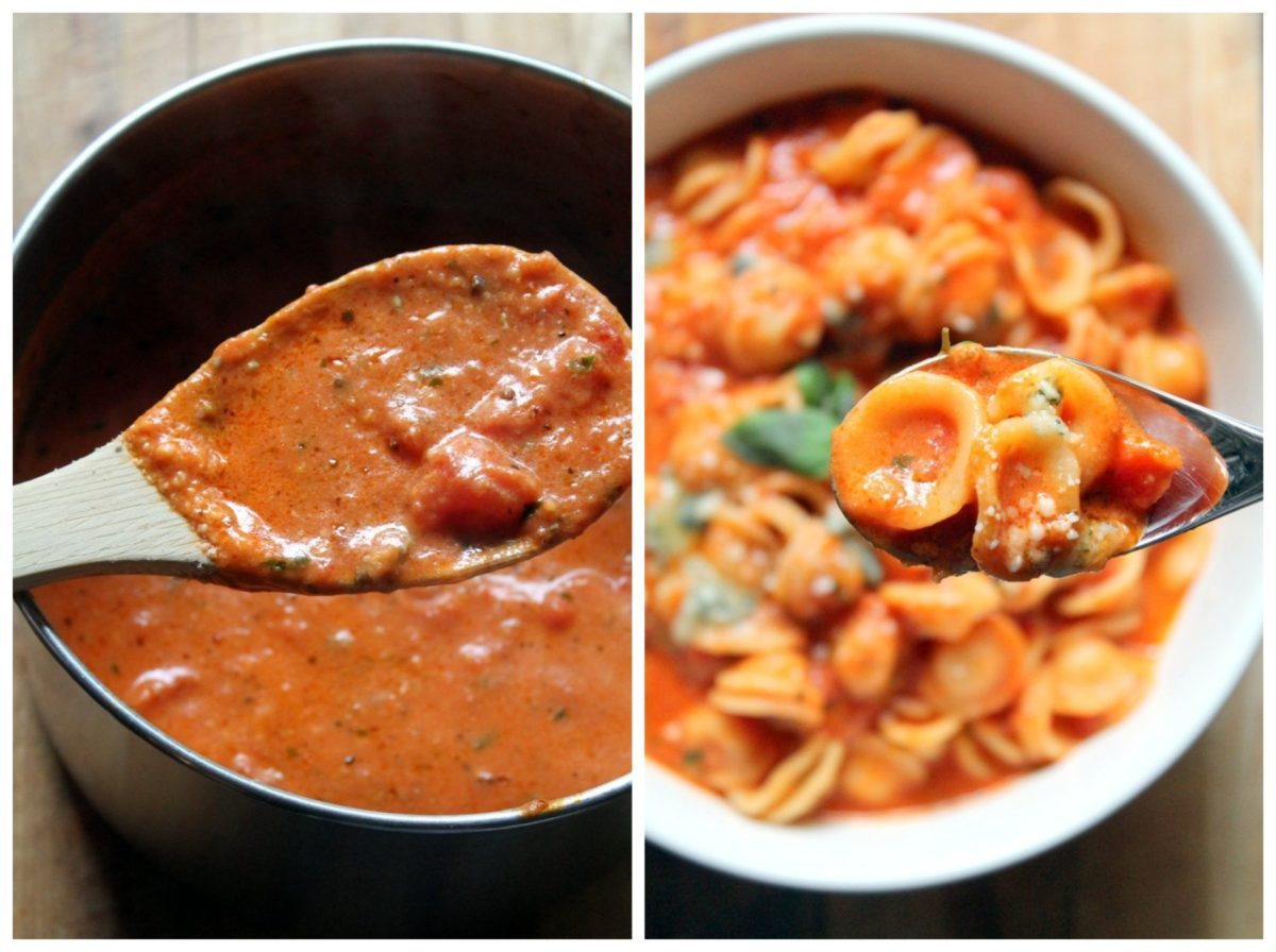 A decadent twist on the classic pasta alla vodka sauce. Vodka sauce is usually served with penne but I loved it with orecchiette. The smooth, rich tomato sauce is laced with vodka, cream and two different cheeses so it's perfect if you're looking for something comforting and indulgent. It can be made spicy or mild. A vegetarian pasta lover's dream!