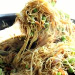 Vegetarian singapore style noodles with paneer