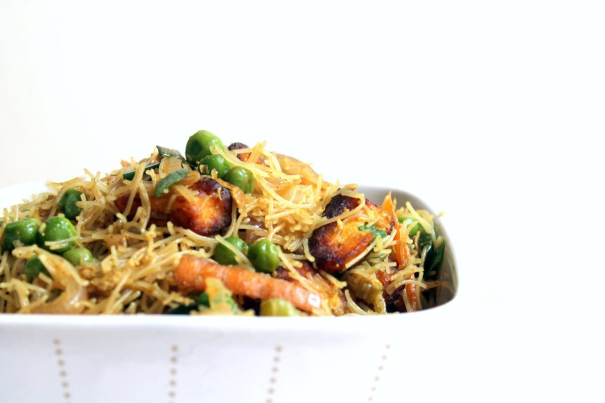 You will love these stir fried singapore style noodles with paneer cheese! Paneer makes a delicious alternative to tofu or faux meat in these vegetarian rice noodles. Ready in 30 minutes.