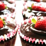 strawberry cupcakes with coconut chocolate ganache
