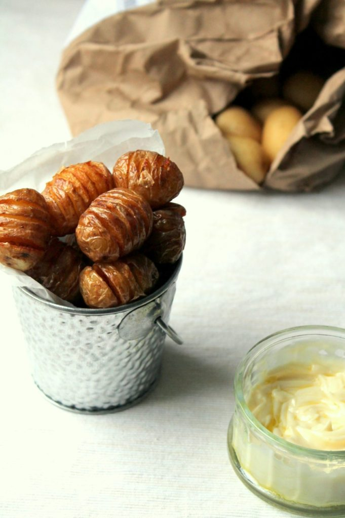 Turn your baby potatoes into mini hasselback fries! Part boiled and then deep fried, these are soft inside with lots of crispy bits outside. So yum.
