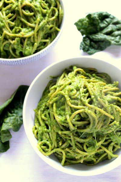Cheesy Avocado Spinach Pasta
