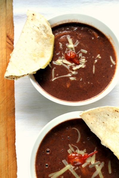 A 5 ingredient, 15 minute dinner! This is the easiest black bean soup you'll ever make and it's completely delicious.