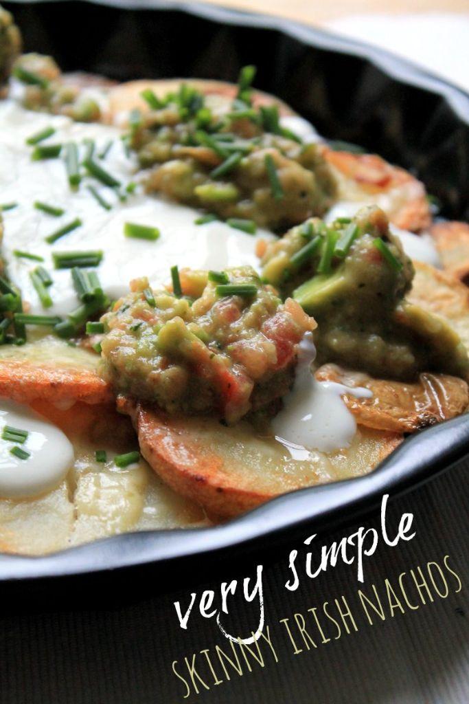 Simple skinny irish nachos. Low fat, quick and easy to prepare.