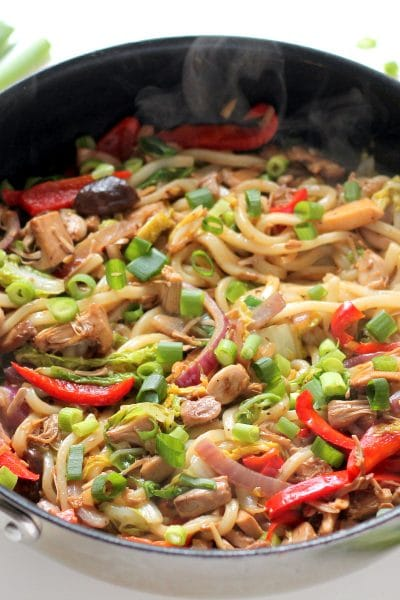 Vegan Udon Noodle Stir Fry with Jackfruit