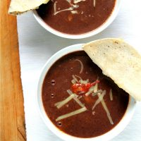Easy black bean soup with quesadilla dippers