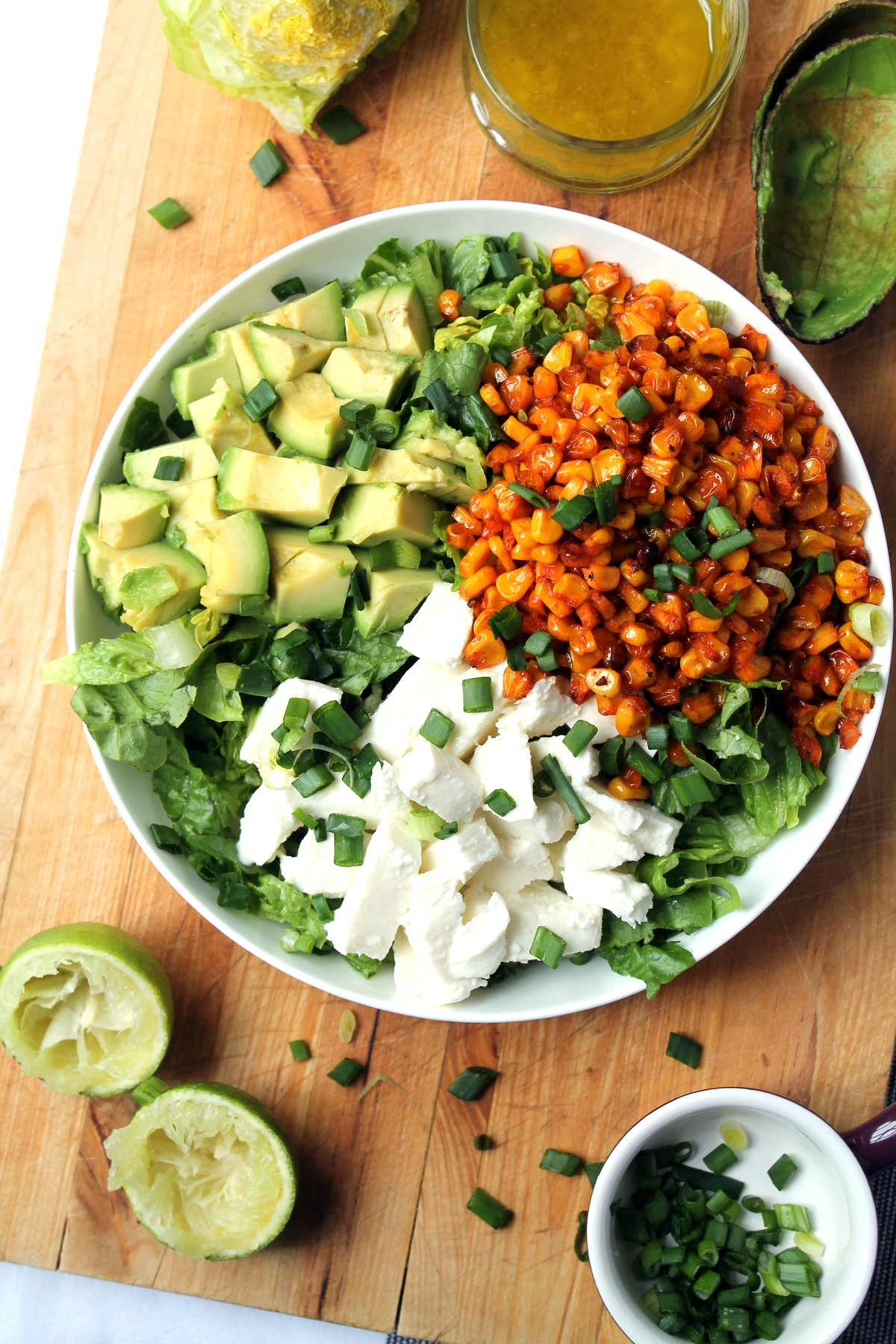 Smoky oven grilled corn & mozzarella salad with honey lime dressing ...
