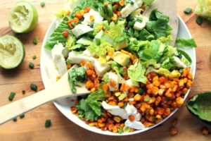 This is a fresh, flavorful vegetarian salad (tastes particularly amazing next to a plate of enchiladas!)