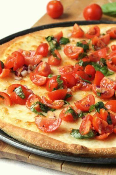Caprese pizza with a buttermilk crust