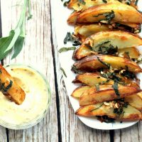 Garlic Sage Potato Wedges with Truffled Mustard Mayonnaise