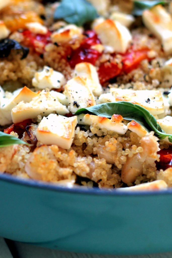 An array of Mediterranean flavors and feta cheese are baked into this quinoa casserole. It's an easy to make vegetarian dinner and works as a main dish or a side.
