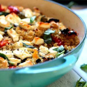 Mediterranean flavors baked into quinoa. An easy to make vegetarian dinner - works as a main dish or a side!