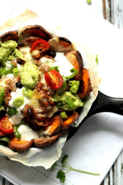 Sweet Potato Nachos with Barbecue Lentils & Havarti Cheese