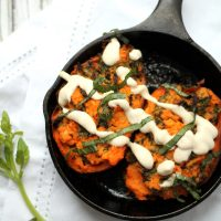 Goats Cheese & Kale Stuffed Sweet Potatoes with Tahini Yogurt Sauce
