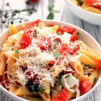 Caprese Pasta with Goats Cheese