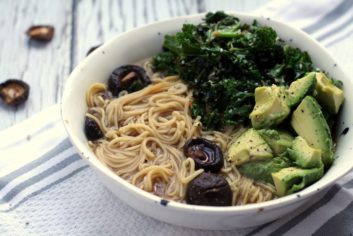 Healthy and nourishing, this quick vegetarian ramen packs in a variety of flavors and textures with shiitake mushrooms, kale and avocado! Taking only 20 minutes to prepare, it's an easy and healthy dinner. Can be made vegan or gluten free when using the appropriate noodles.