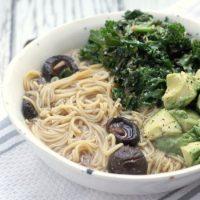 Shiitake Vegetarian Ramen with Sesame Kale & Avocado