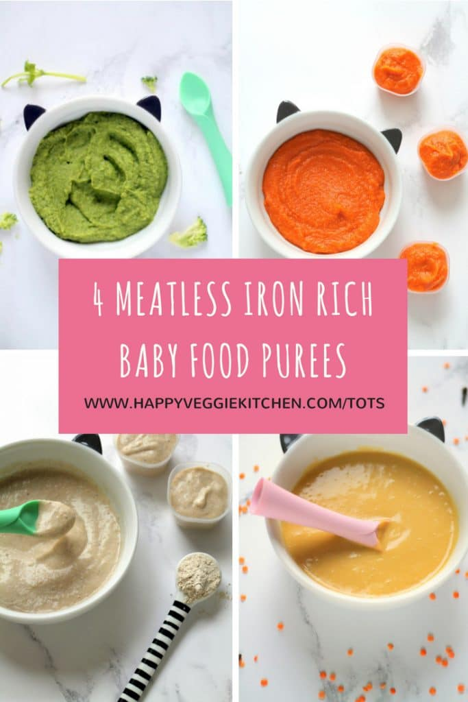 4 Meatless Iron Rich Baby Food Puree Recipes | Happy Veggie Kitchen