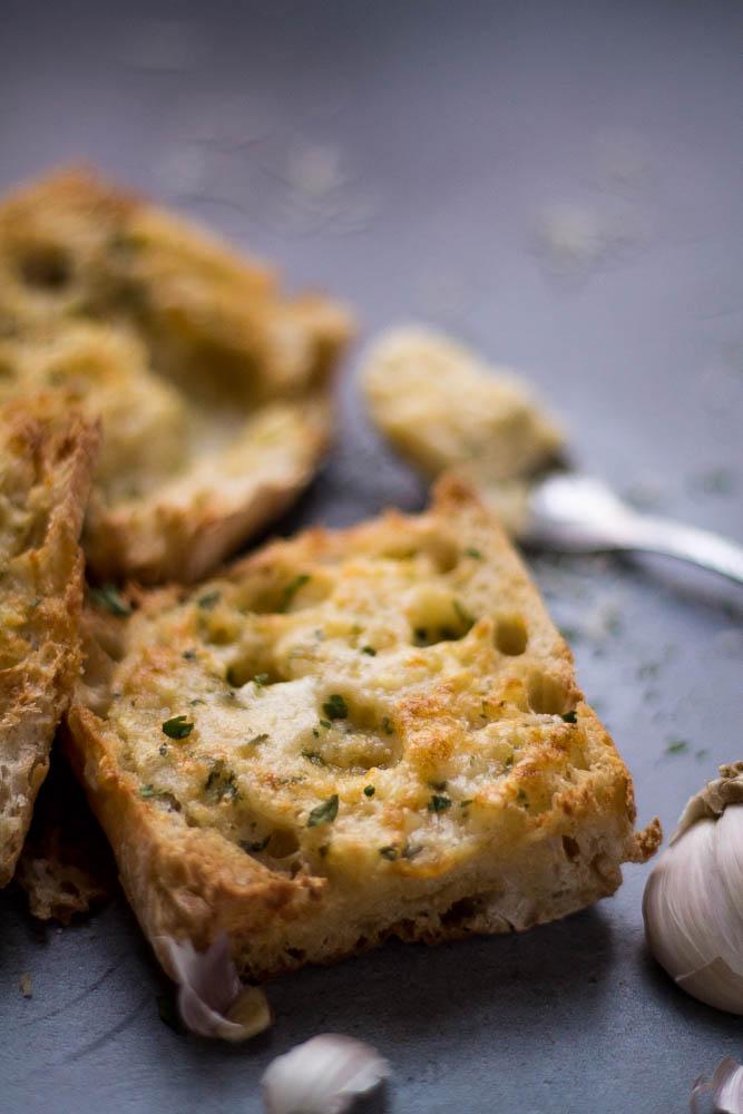 Closer view of air fryer garlic bread