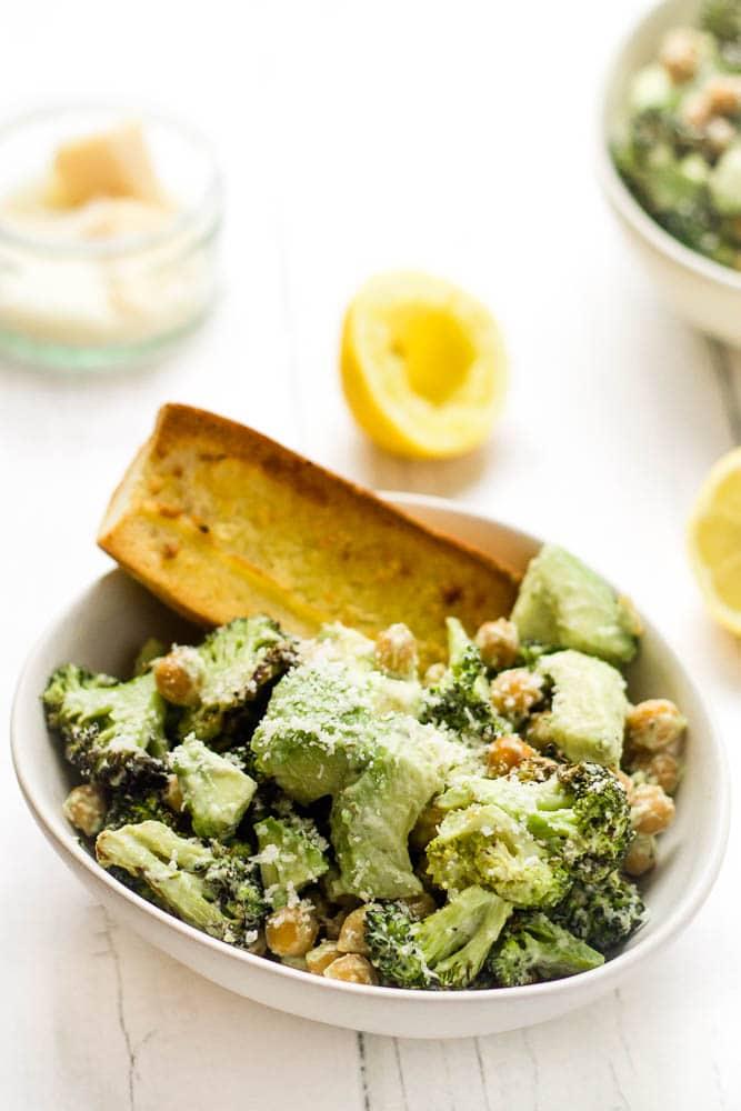Warm Broccoli Caesar Salad Happy Veggie Kitchen
