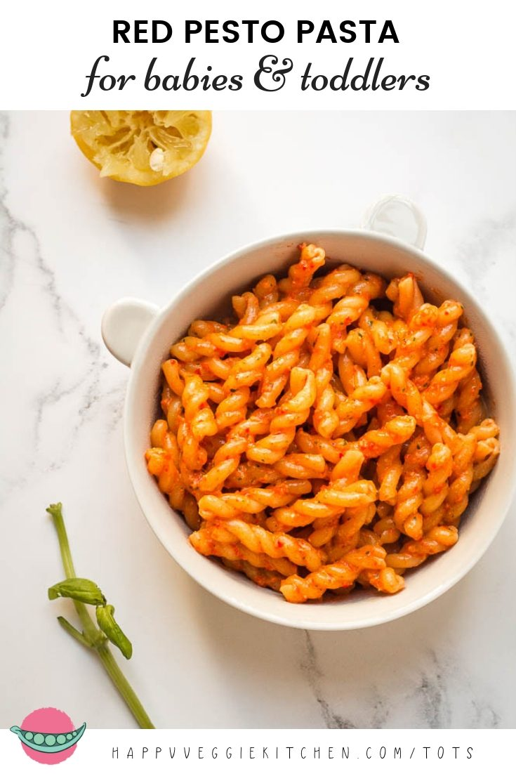 A deliciously sweet red pepper pesto that is suitable for babies, and toddler / kid friendly too! This is an ideal baby led weaning recipe, and a way to bring some variety to toddlers and kids who love red pasta sauces. Packed with nutrients from red peppers and walnuts, this is a healthy pasta dish that the whole family would be happy to share. #babyledweaning #babyfood #toddlermeals #kidsfood #toddlerfood