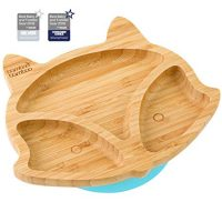 Toddler Fox Cub Suction Plate, Natural Bamboo