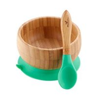 Bamboo Stay Put Suction Bowl + Spoon