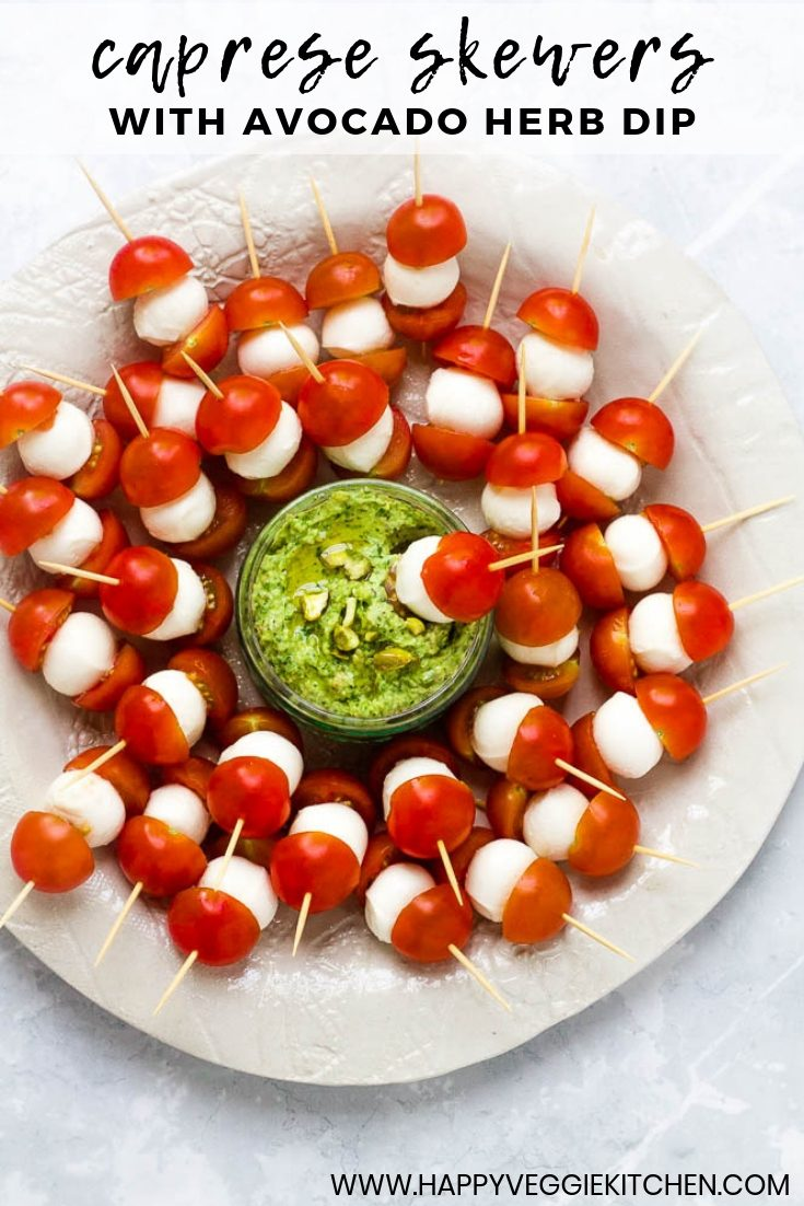 A fresh and easy appetizer which everyone will enjoy, these cherry tomato bocconcini skewers pair perfectly with a creamy, herby avocado pistachio dip. They are an ideal snack to bring out for picnics, barbecues and garden parties! If you're looking for a simple bocconcini appetizer, or a way to turn your favorite salad into a fun finger food, these caprese skewers are ideal!