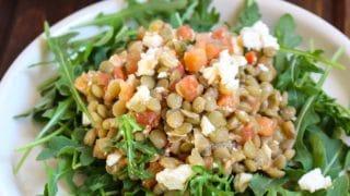 5-Ingredient Lentil-Bruschetta Salad Pitas