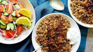 Mujadara - Lentils Rice with Crispy Onions