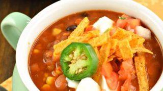 Slow Cooker Lentil Tortilla Soup