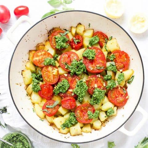 Potato Tomato Bake with Kale Pesto