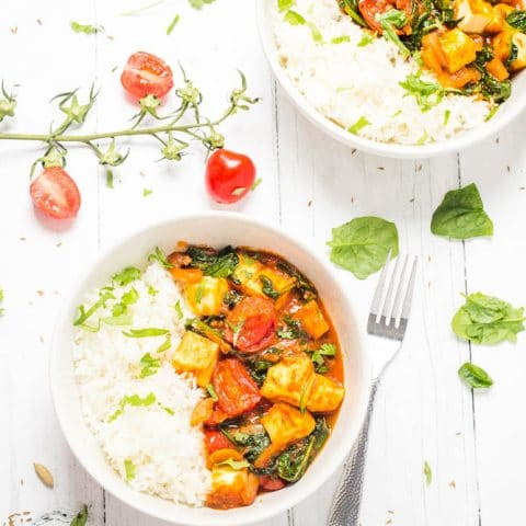 Spinach & Paneer Curry with Cherry Tomatoes
