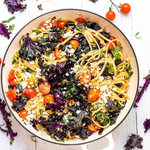 Purple Kale & Cherry Tomato Pasta