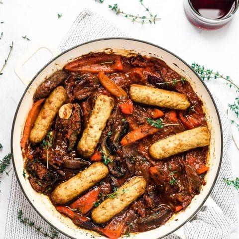 Vegan Sausage Casserole with Roasted Vegetables