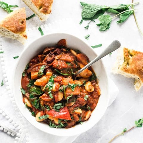 Butter Bean Stew with Roasted Vegetables