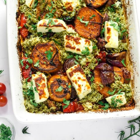 Halloumi Traybake with Pesto Rice & Roasted Vegetables
